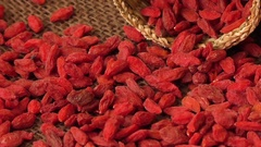 Red dried goji berries ( Lycium Barbarum , wolfberry ) Stock Footage