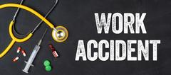 Stethoscope and pharmaceuticals on a blackboard - Work accident Stock Photos