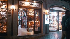 Shops with Asian Goods on Soho Square, Sharm El Sheikh, Egypt Stock Footage