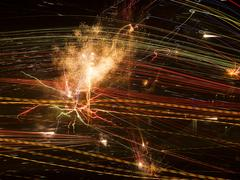 Abstract lines with fireworks explosion Stock Photos