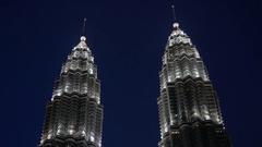 Kuala Lumpur Petronas Towers at Night Stock Footage