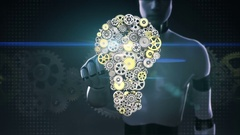 Robot, cyborg touching screen, big gears gathered idea bulb shape animation. Stock Footage