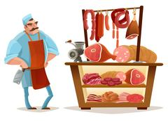 Butcher Cartoon Concept Stock Illustration