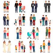 Homosexual Couples Set Stock Illustration