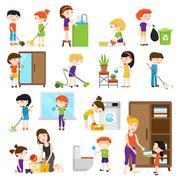 Kid Cleaning Set Stock Illustration