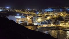 Night view of the Playa de las Americas, Tenerife Stock Footage