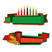 Kwanzaa Ribbon 2 Colorful  Banners Set Stock Illustration