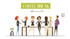 Coffee Break Cartoon Style Illustration Stock Illustration