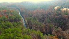Aerial Over Mountain River During Autumn, 4K Stock Footage