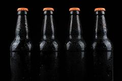 Chilled Beer Bottles on a Black Background Stock Photos