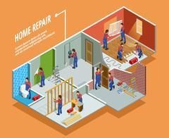 Home Repair Isometric Template Stock Illustration