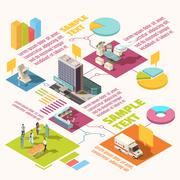 Isometric Hospital Infographics Stock Illustration