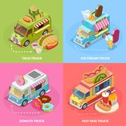 Food Truck 4 Isometric Icons Square Stock Illustration