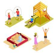 Isometric Playground Icon Set Stock Illustration