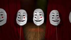 Comic and tragic theater mask on the background of the stage and the curtain Stock Footage