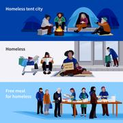Homeless People Horizontal Banners Stock Illustration