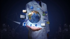 Researcher, Engineer open palm, Rotating earth, social network service. Stock Footage