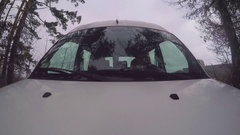 Man driving car. Point of view Is outside the car Stock Footage