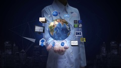 Female researcher, Engineer open palm, Rotating earth, social network service. Stock Footage