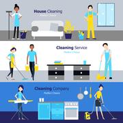 Professional Cleaning Horizontal Banners Stock Illustration