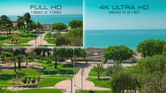 Comparison television formats 4K UHD vs Full HD Stock Footage