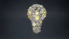 Golden big gears gathered idea bulb shape animation. Stock Footage