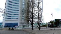 Vasco da Gama Tower in Lisbon, Portugal Stock Footage
