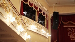 A balcony with lighting equipment in the theatre Stock Footage