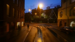 POV ride at night street, rear plate smooth timelapse shot Stock Footage