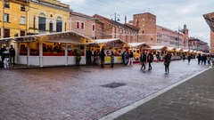 Christmas Fair on Piazza Trento in Ferrara, Italy Stock Footage