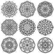 Indian meditation mandala patterns vector set Stock Illustration