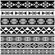 African and mexican aztec american tribal vector borders, frame patterns Stock Illustration