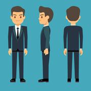 Young person man in three points of view in business, office clothes vector set Stock Illustration