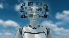 3D rendering of an artificial robot with futuristic screens Stock Illustration