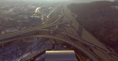 4k footage road transport interchange near the winter forest Stock Footage