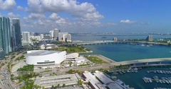 Aerial helicopter tour Miami Downtown Stock Footage