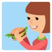 Girl eating sandwich. Vector illustration on theme fast food Piirros