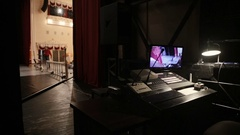 The place of a sound engineer behind the scenes in the theater Stock Footage