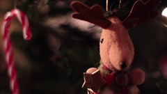 Xmas Tree Decoration, Deer, Cane - Tripod - Christmas Stock Footage