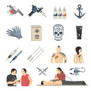 Attoo Studio Flat Icons Collection Stock Illustration