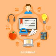 E Learning Colored Composition Stock Illustration