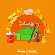 Room Cleaning Round Composition Stock Illustration