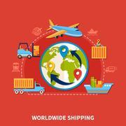 Flat Logistic Composition Stock Illustration