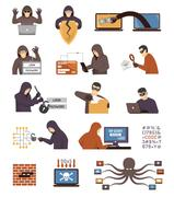 Internet Security Hackers Flat Icons Set Piirros