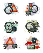 Car Maintenance Sign Set Stock Illustration