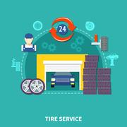 Tire Service Flat Design Concept Stock Illustration