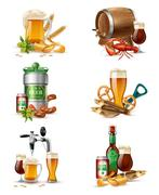Draught Beer Illustrations Set Stock Illustration