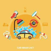 24h Car Wash Composition Stock Illustration