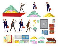 Financial Wealth Elements Set Stock Illustration