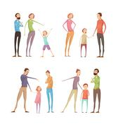 Adults Abuse Children Set Stock Illustration